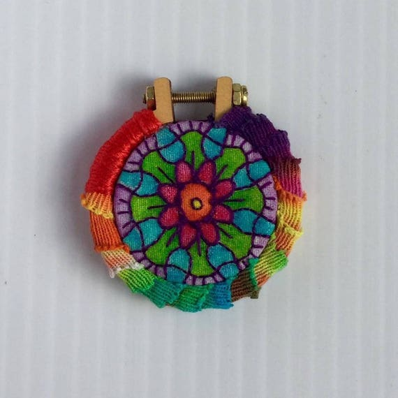 Hippie Mandala Hand Embroidered Mini Hoop Art Pendant, Colorful, Rainbow, Calming, Tiny, Whimsical, Hand Embroidered