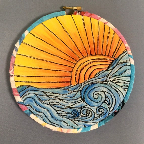 Here Comes the Sun Free Motion Machine Embroidered Hoop Art, colors in Derwent Inktense Water Colors