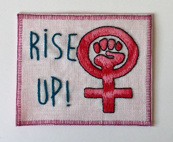 Rise Up Hand Embroidered Sew-On Patch, Resist, Feminist, Words, Protest, Hand Embroidered