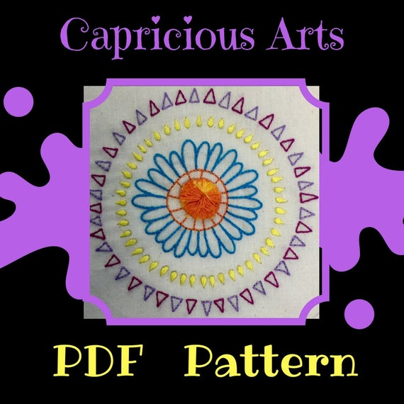 Sunburst Mandala PDF Pattern, Download, Flower, Patterns, Embroidery, Hand Embroidery, Thread Art, Embroidery Hoop, Wall Art