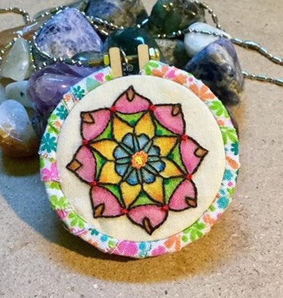 Spring Mandala Hand Embroidered Mini Hoop Art, Calming, Whimsical, Colorful, Hand Embroidered