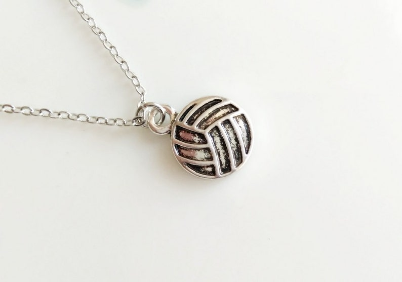 Volleyball Necklace Silver Boho Simple Minimalist Ball Sport image 0