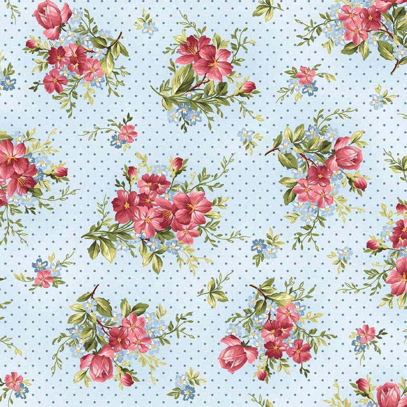 Soft Blue Scroll Roses Vines Marti Mitchel Quilt Fabric by the 1//2 yd