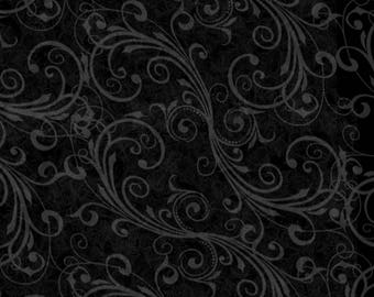 Black Swirls Holiday Homecoming Christmas Quilt Fabric by the 1/2 yard