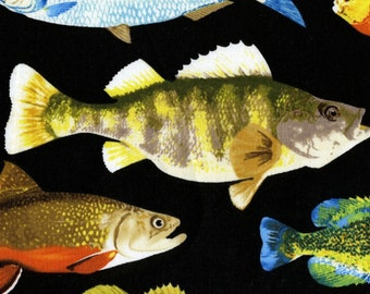 Fish on Black Timeless Treasures Quilt Fabric by the 1/2 yard