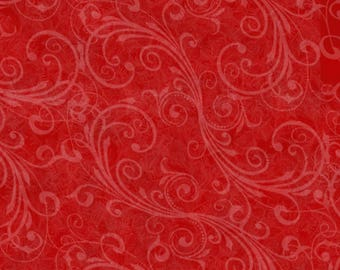Red Swirls Holiday Homecoming Christmas Quilt Fabric by the 1/2 yard