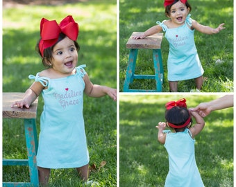 ad94e6719 Toddler Dress Baby Girl Dress Baby Girl Summer Outfit Personalized Baby  Girl Clothing Summer Dress Sun Dress Big Bow Headband Bay Girl Gift