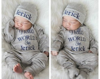 10b9115405d Baby Boy Clothes Baby Boy Coming Home Outfit Hello World Outfit  Personalized Baby Boy Outfit Baby Boy Gift Newborn Boy Outfit Newborn Hat