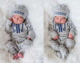 90bc54ecd5ca3d Baby Boy Clothes Baby Boy Coming Home Outfit Baby Boy Gift Newborn Boy  Clothes Newborn Boy Outfit Monogrammed Baby Boy Outfit Newborn Hat