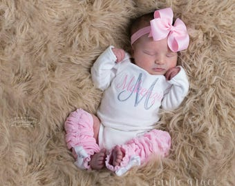 Baby Girl Coming Home Outfit Baby Girl Clothes Newborn Girl Outfit Baby Girl  Gift Monogrammed Baby Girl Outfit Baby Girl Leg Warmers 4327b6bc5dc