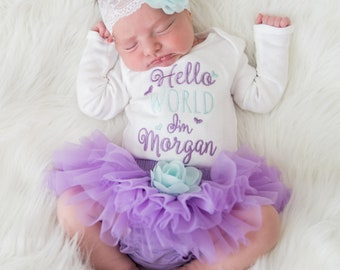 4c0733a01109e Baby Girl Coming Home Outftit Baby Girl Clothes Baby Girl Girt Personalized  Baby Girl Outfit Baby Girl Tutu Newborn Girl Clothes