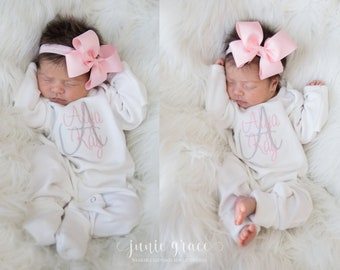 d782aefe9cb19 Baby Girl Coming Home Outfit Baby Girl Clothes Newborn Girl Coming Home  Outfit Baby Girl Gift Newborn Girl Clothes Newborn Headband