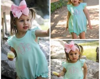 9657878b5d7f6 Girl Toddler Ruffle Sleeve Bubble Romper Monogrammed Summer Clothing  Monogram Baby Girl Monogrammed Summer Clothes Baby Girl Bubble Romper