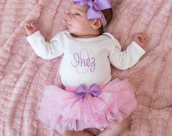 b10fbd19de9 Newborn Girl Coming Home Outfit Newborn Girl Clothes Baby Girl Clothes Baby  Girl Gift Personalized Baby Girl Outfit Newborn Headband