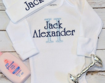 baby boy coming home outfit newborn personalized sleeper etsy