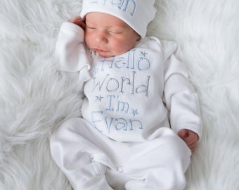 7ae098539cef4 Baby Boy Coming Home Outfit Baby Boy Clothes Baby Boy Gift Personalized Baby  Boy Outfit Hello World Outfit Baby Boy Convertible Sleeper