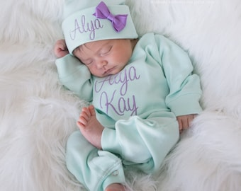c78d3d2d896 Baby Girl Coming Home Outfit Baby Girl Outfit Personalized Baby Girl Gift Baby  Girl Coming Home Outfit Baby Girl Clothes Baby Girl Hat