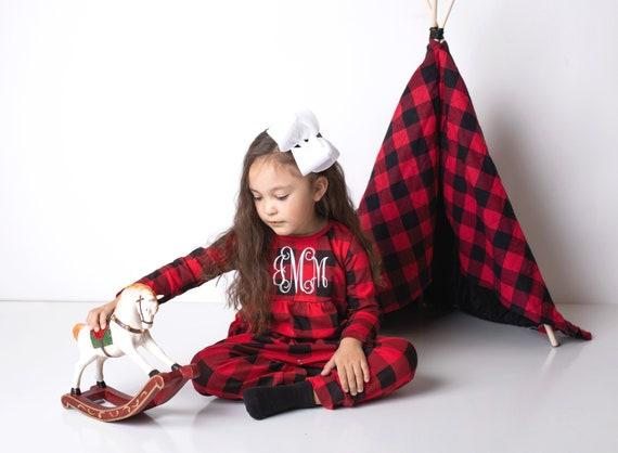 Custom Christmas Dress Custom Ornament Christmas outfit for girls Christmas Outfit for toddler girls Buffalo Check Christmas