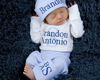 Newborn Boy Coming Home Outfit Newborn Boy Clothes Newborn Baby Boy Outfit Baby Boy Gift Newborn Boy Hat Take Home Outfit