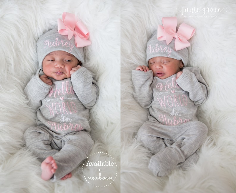 824009d5a867f Newborn Girl Coming Home Outfit Newborn Girl Clothes Personalized Baby Girl  Gift Personalized Baby Girl Outfit Baby Girl Sleeper