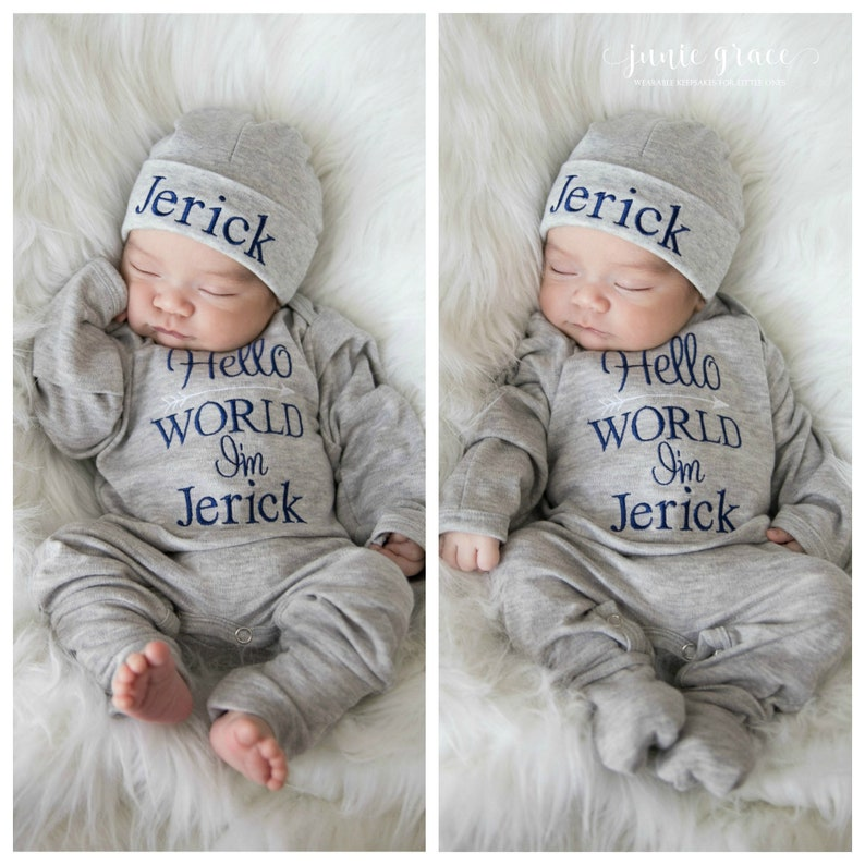 c3d7667688f Baby Boy Clothes Baby Boy Coming Home Outfit Hello World