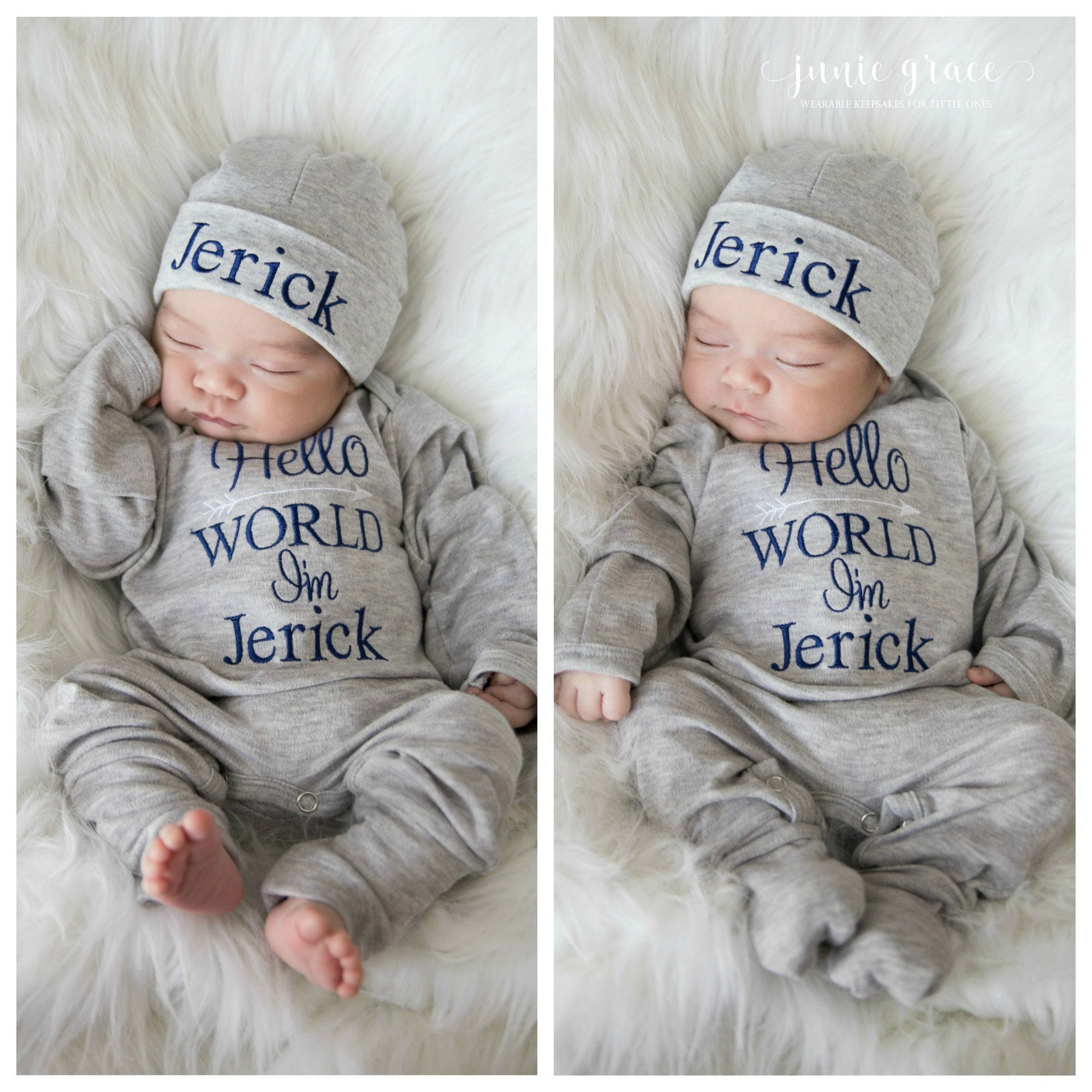 b38c63b6e10d Baby Boy Clothes Baby Boy Coming Home Outfit Hello World | Etsy