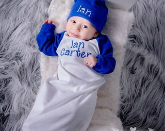 Baby Boy Clothes Coming Home Outfit Baby Boy Gift Baby Boy Outfit Monogrammed Baby Boy Outfit Raglan Gown Newborn Hat Newborn - 6 months