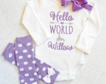 Baby Girl Clothes Baby Girl Coming Home Outfit Newborn Girl Outfit Hello World Newborn Outfit Baby Girl Outfit Gift Baby Girl Headband