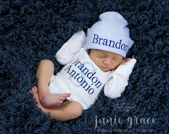 Baby Boy Coming Home Outfit Baby Boy Clothes Baby Boy Gift Newborn Baby Boy Hat Personalized Baby Boy Outfit Monogrammed Baby Boy Outfit