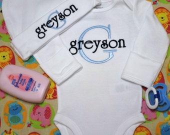 Newborn Boy Coming Home Outfit Newborn Boy Clothes Newborn Baby Boy Outfit Baby Boy Gift Newborn Boy Hat Take Home Outfit Monogram Boy