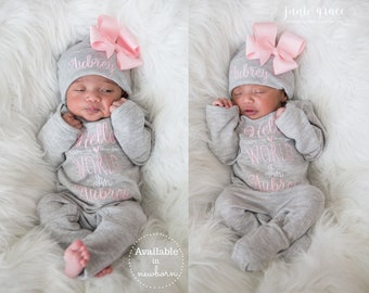 Baby Girl Coming Home Outfit Baby Girl Clothes Personalized Baby Girl Gift Personalized Baby Girl Outfit Newborn Girl Clothes Newborn Hat