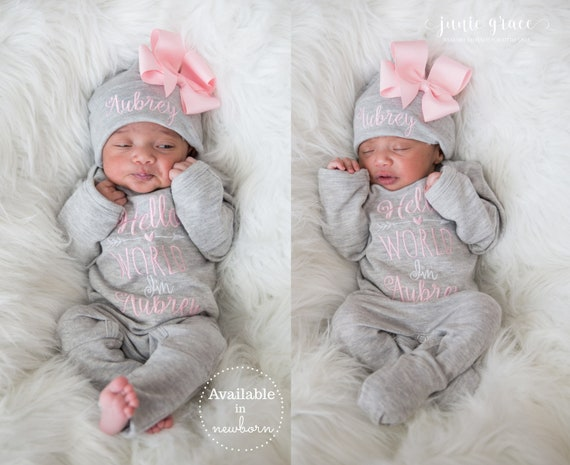 Baby Girl Coming Home Outfit Baby Girl Clothes Baby Girl Outfit Baby Girl Gift Newborn Girl Clothes Newborn Girl Outfit Monogrammed Gift