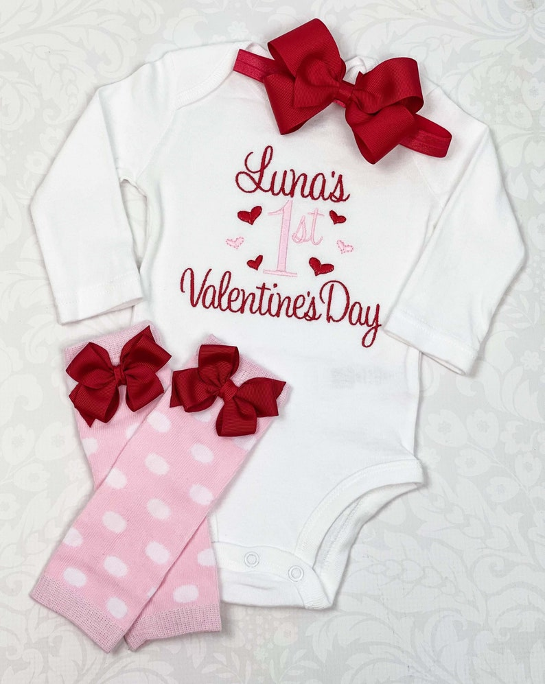 Baby Girl First Valentine/'s Day Outift  Personalized Baby Girl First Valentine/'s Day Bodysuit Baby Girl Valentine/'s Day Clothing