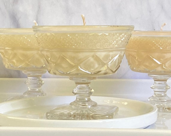 Essential Blend Pink Coconut Wax Candle In Vintage Pressed Glass Stemware