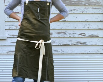 SALE Rustic Utility Full Kitchen Studio Workshop Restaurant Artist Apron for Him or Her in Khaki made to order