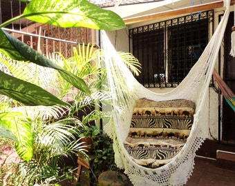 Hammock Chair White Hammock Chair With Fringe And Loose Etsy