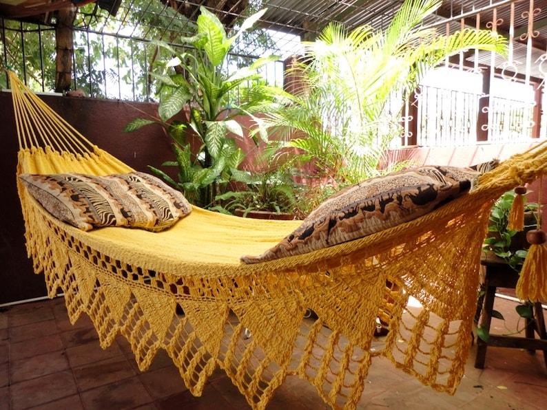 One Color Double Hammock Handmade Natural Cotton Triangle image 0