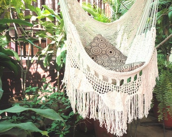 Hammock Chair, white hammock chair with Fringe and Loose Threads, Hanging Chair Natural Cotton and Wood