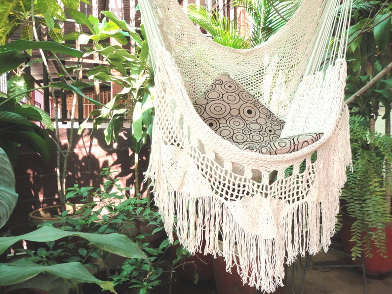 7b8464bc4690e Hammock Chair, white hammock chair with Fringe and Loose Threads, Hanging  Chair Natural Cotton and Wood