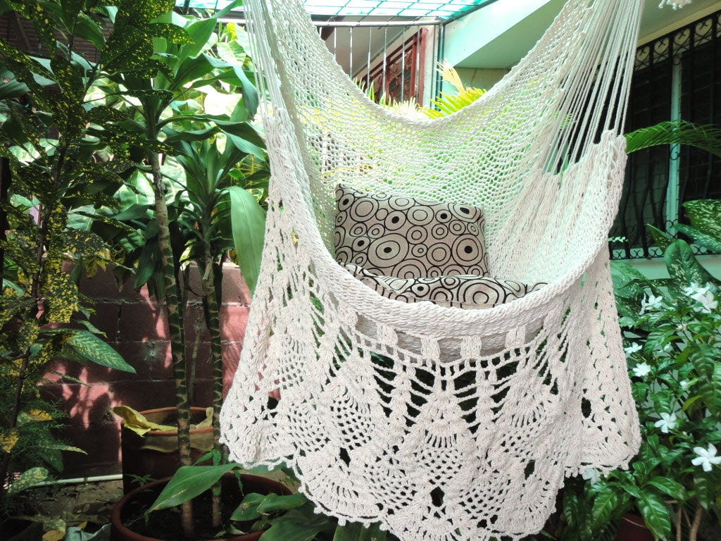Hammock Chair White Hammock Chair Hanging Chair Natural Etsy