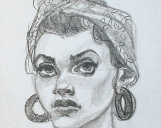 Young Woman with Head Scarf, Hoop Earrings and an Attitude, graphite on cotton paper, 6x9 inches  by KennEy Mencher