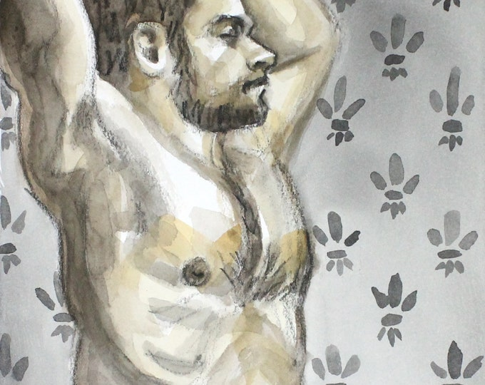 Morning Stretch, crayon and watercolor on cotton paper, 9x12 inches by KennEy Mencher