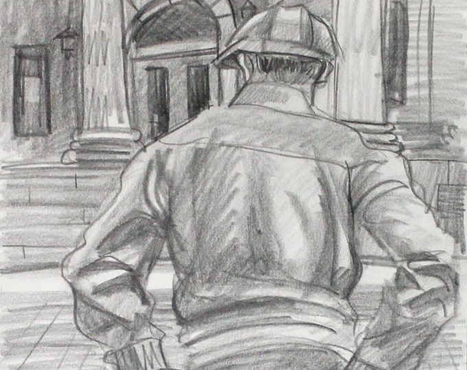 City Hall, graphite on cotton paper, 9x12 inches by KennEy Mencher