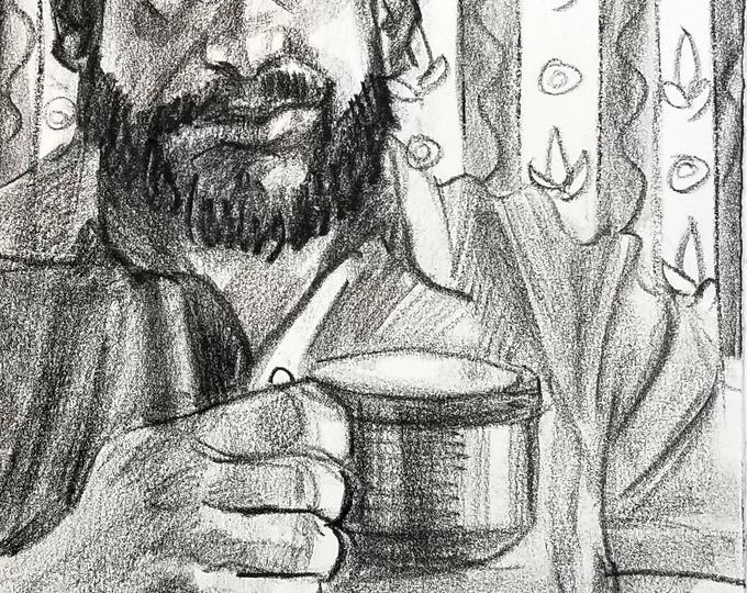 Coffee Mug Bear, 9x12 inches crayon on paper by Kenney Mencher
