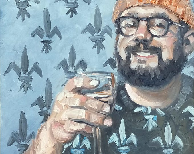Bearded Chubster in an Orange Beanie, Toasting, with a fleur de lis Pattern, oil on masonite panel, 16x20 inches by KennEy Mencher