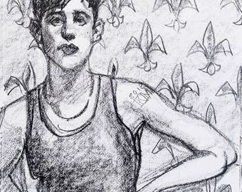 Fluid Gendered 20 Something, 9x12 inches crayon on paper by Kenney Mencher