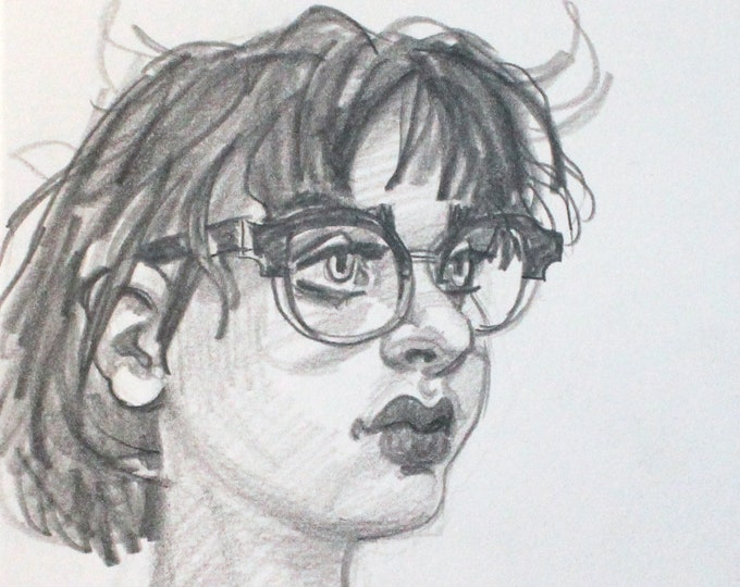 Young Woman with Cute Glasses, graphite on cotton paper, 6x9 inches by Kenney Mencher