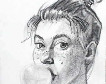 Bazooka Josephine, 9x12 inches crayon on heavy rag paper by KennEy Mencher