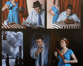 The Honeymooners, oil on stretched canvas 48x60 inches by Kenney Mencher