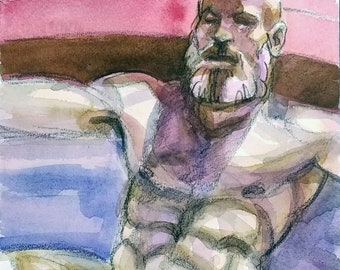 Sleeping Satyr, watercolor on cotton paper 9x12 inches by KennEy Mencher